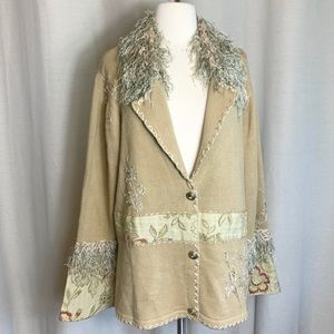 Storybook Knits Beige Beaded & Fluffy Sweater